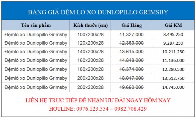Bảng giá khuyến mãi đệm lò xo Dunlopillo Grimsby