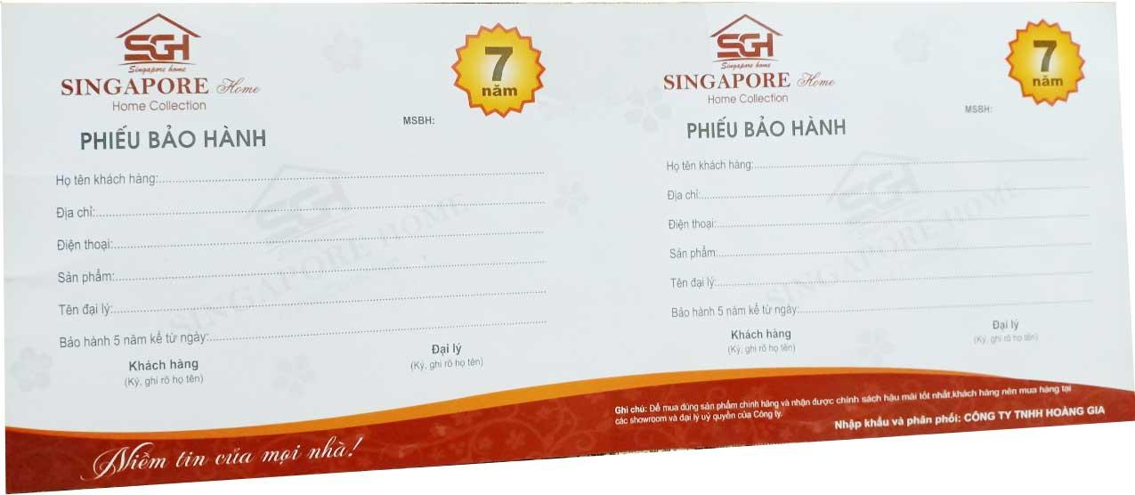 Phiếu bảo hành chính hãng Singapore (mặt sau)