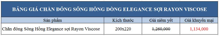 Bảng giá khuyến mại Chăn đông Sông Hồng dòng Elegance sợi Rayon