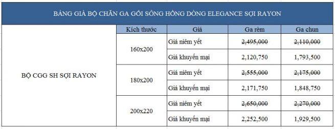 Bảng giá Bộ chăn ga gối Sông Hồng Elegance vải Rayon