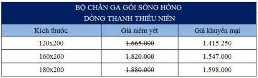 Bảng giá bộ chăn ga gối Sông Hồng hoạt hình dòng trẻ em