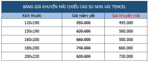 Bảng giá chiếu điều hòa cao su non nhập khẩu Thái Lan