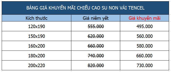 Bảng giá chiếu điều hòa tencel cao su non nhập khẩu Thái Lan