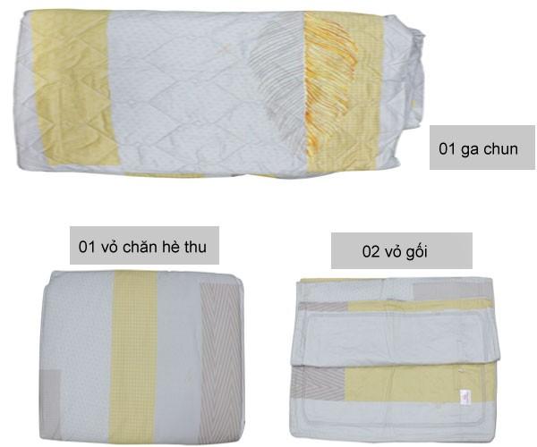Kết cấu Bộ chăn ga gối Sông Hồng Basic vải cotton BC21029