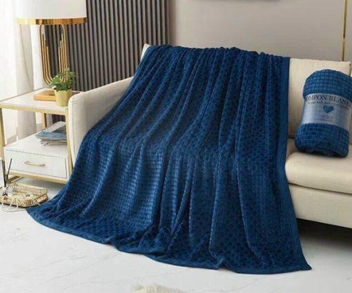 Chăn lông thỏ Blanket 4 mùa màu xanh biển