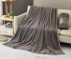 Chăn lông thỏ Blanket 4 mùa màu xám đá