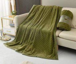 Chăn lông thỏ Blanket 4 mùa màu xanh rêu