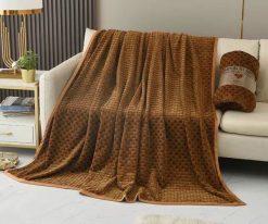 Chăn lông thỏ Blanket 4 mùa màu vàng nâu