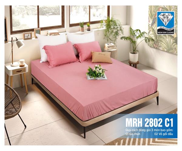 Bộ chăn ga gối chun chần 1 màu Maris - màu hồng